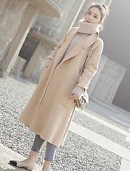 Недорогие -Для женщин На каждый день Осень Зима Пальто Рубашечный воротник,Уличный стиль Однотонный Длинная Длинный рукав,Шерстяная ткань