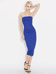 abordables -Mujer Chic de Calle Corte Bodycon Vestido - Espalda al Aire Elegante, Un Color Color sólido Tiro Alto Hasta la Rodilla Hombros Caídos