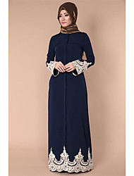 cheap -Loriya Women's Flare Sleeve Abaya Dress - Solid Colored Color Block Stitching Lace Lace High Waist Maxi Square Neck