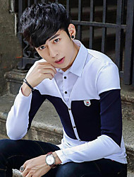 Men's Daily Wear Work Street chic Winter Spring/Fall Shirt,Color Block Shirt Collar Long Sleeves Cotton Medium