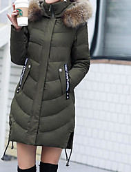 Women's Long Padded Coat,Vintage Casual Daily Going out Solid-Polyester Long Sleeves
