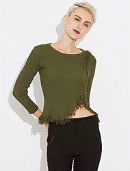 cheap -Women's Long Sleeves Pullover - Solid, Tassel
