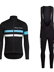 cheap -Men's Long Sleeves Cycling Jersey with Bib Tights - Black Bule/Black Bike Bib Tights Jersey Clothing Suits