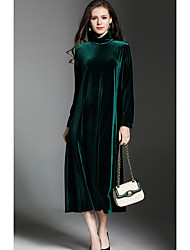 cheap -Women's Daily Wear Loose Dress,Solid Cowl Midi Long Sleeve Polyester Winter Fall Mid Rise Micro-elastic Thick