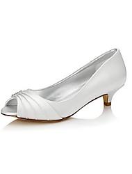Недорогие -Для женщин Обувь Шёлк Весна Лето Туфли лодочки Обувь на каблуках На низком каблуке Открытый мыс Круглый носок Стразы для Свадьба Для