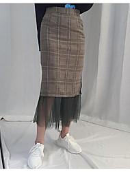 Femme Cérémonie Asymétrique Jupes,Jupe & Robe Couleur Pleine Automne Hiver
