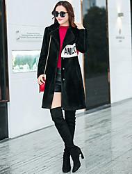 Cappotto di pelliccia Da donna Casual sofisticato Autunno Inverno,Tinta unita 100% cashmere Pelliccia di agnello Lungo Manica lunga