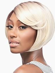 preiswerte -Synthetische Perücken Bubikopf Dunkler Haaransatz Blond Damen Kappenlos Promi-Perücke Natürliche Perücke Kurz Synthetische Haare