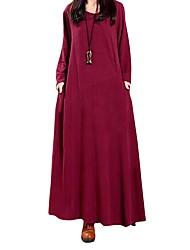 Ample Robe Femme Décontracté / Quotidien Rétro,Couleur Pleine Rétro Col Arrondi Maxi Manches longues Coton Acrylique Hiver Automne Taille