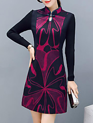 cheap -Women's Daily Casual Sheath Dress,Print Crew Neck Above Knee Long Sleeve Acrylic Winter Fall Mid Rise Inelastic Thick