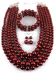 cheap -Women's Imitation Pearl Jewelry Set Earrings / Necklace / Bracelets - Statement Circle Dark Red For Casual / Evening Party