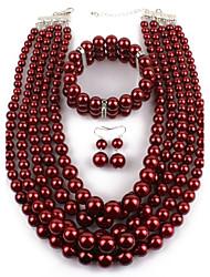 abordables -Femme Ensemble de bijoux - Imitation de perle Large Comprendre Rouge foncé Pour Décontracté / Soirée / Boucles d'oreille