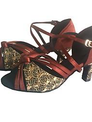 cheap -Women's Latin Sparkling Glitter Satin Sandal Indoor Customized Heel Coffee