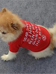 preiswerte -Katze Hund T-shirt Pullover Hundekleidung Stilvoll Schneeflocke Lässig/Alltäglich warm halten Weihnachten Buchstabe & Nummer Rot Kostüm