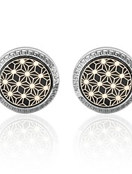 "cheap -1 ¼"" Circle Crown Shape Gray Cufflinks Aluminum Alloy Carbon Check Party Men's Costume Jewelry"