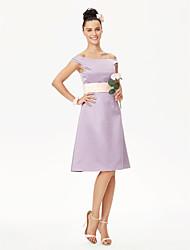 cheap -A-Line / Princess Off Shoulder Knee Length Satin Bridesmaid Dress with Sash / Ribbon / Pleats by LAN TING BRIDE®