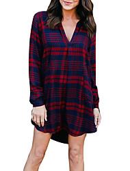 economico -Camicia Vestito Da donna-Per uscire Casual Sensuale Moda città A quadri Colletto Sopra il ginocchio Maniche lunghe Poliestere Primavera