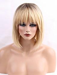 abordables -Mujer Pelo humano pelucas sin tapa Negro Natural castaño medio Amarillo Medio Corte Recto Pelo Ombre Raíces oscuras