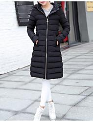 Недорогие -Пальто На каждый день На подкладке Для женщин,Однотонный Повседневные Полиэстер Длинный рукав