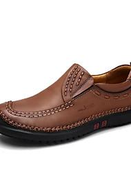 cheap -Men's Loafers & Slip-Ons Spring / Fall Comfort Cowhide Casual Flat Heel Slip-on Brown / Khaki Walking