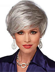 cheap -Synthetic Wig Straight With Bangs Synthetic Hair Natural Hairline / Side Part Gray Wig Women's Short Capless