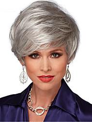 Недорогие -Парики из искусственных волос Прямой С чёлкой Искусственные волосы Природные волосы / Боковая часть Серый Парик Жен. Короткие Без шапочки-основы