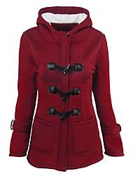 preiswerte -Damen Solide Einfach Lässig/Alltäglich Mantel,Mit Kapuze Winter Herbst Langarm Kurz Polyester Stilvoll