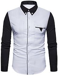 Masculino Camisa Social Casual Vintage Sólido Algodão Acrílico Outros Colarinho de Camisa Manga Longa