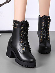 Women's Shoes Fleece PU Spring Summer Club Shoes Sandals Chunky Heel Open Toe Imitation Pearl Buckle For Casual Dress Black