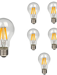 cheap -6pcs A60(A19) 8W 760LM Retro LED Filament Bulb E27 Clear Glass Shell Vintage Edison Warm/Cool White AC220-240V