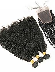 baratos -Cabelo Brasileiro Onda Profunda Cabelo Remy Cabelo Humano Ondulado 4 pacotes Tramas de cabelo humano Preto Natural