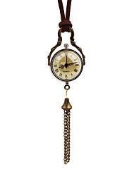baratos -Mulheres Relógio de Bolso Chinês Quartzo Relógio Casual Couro Banda Vintage Casual Marrom