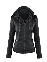 cheap -Women's Sports Simple Casual Winter Fall Leather Jacket,Solid V Neck Long Sleeve Short PU Beaded