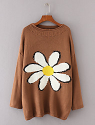 Women's Going out Casual/Daily Simple Street chic Long Pullover,Print Round Neck Long Sleeves Wool Cotton Others Spring Fall Medium