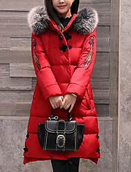 Dámské Dlouhé S vycpávkou Jednoduchý Ostatní Běžné/Denní Jednobarevné-Kabát Polyester Dlouhý rukáv