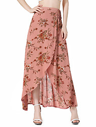cheap -Women's Going out Boho Swing Skirts - Floral Color Block Split