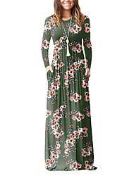 cheap -Women's Holiday / Going out Boho Sheath / T Shirt Dress - Floral / Vintage Print High Rise Maxi / Spring / Fall / Loose