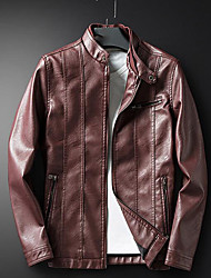 Недорогие -Муж. Повседневные Зима Обычная Кожаные куртки Круглый вырез, Простой На каждый день Однотонный Искусственная кожа