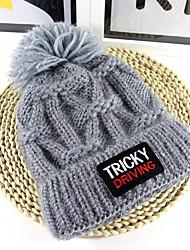 Для женщин Очаровательный Широкополая шляпа,Зима Вязанная Однотонный Чистый цвет