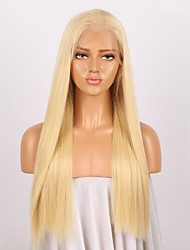 cheap -Women Human Hair Lace Wig Brazilian Remy Glueless Lace Front 150% Density With Baby Hair Straight Wig Light Blonde Long Virgin Natural