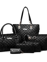 economico -Donna Sacchetti PU (Poliuretano) sacchetto regola Set di borsa da 6 pezzi Cerniera per Casual Tutte le stagioni Blu Oro Nero Beige Caffè