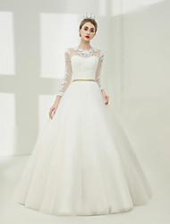 cheap -Ball Gown Jewel Neck Floor Length Tulle Wedding Dress with Lace Pearl Detailing Sashes / Ribbons by SG