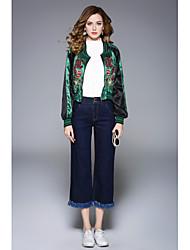 baratos -Mulheres Jaqueta Activo - Floral, Algodão Fashion