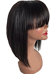 cheap -New Style Brazilian Human Hair Lace Front Wig with Bang Factory Price Straight Style Lace Front Natural hair wigs with Baby Hair For Black Woman