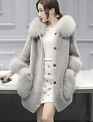 Long Sleeves Faux Fur Wedding Party / Evening Women's Wrap With Cap Coats / Jackets