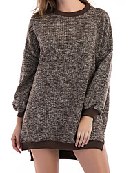 cheap -Women's Daily Casual Sweater Dress,Solid Round Neck Mini Long Sleeve Spandex Spring Fall Mid Rise Micro-elastic Opaque