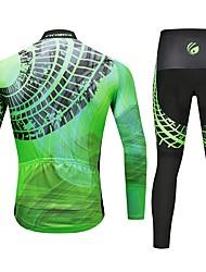 billiga Sport och friluftsliv-CYCOBYCO Herr Långärmad Cykeltröja och tights - Grön Cykel Byxa / Tröja / Cykling Tights, 3D Tablett, Snabb tork, Reflexremsa Lycra Mode / Elastisk / Klädesset