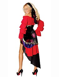 Holiday Ethnic/Religious Gypsy Outfits Female Halloween Christmas Festival/Holiday Halloween Costumes Red Patchwork