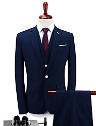cheap -Dark Blue Solid Standard Fit Polyester Suit - Notch Single Breasted One-button