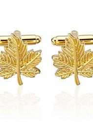 Недорогие -В форме листа Золотой Запонки Медь Ювелирные изделия Свидание Муж. Бижутерия